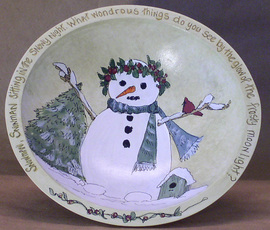 wood painted bowl snowman Between The Weeds