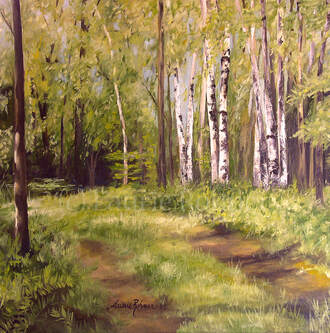 birch trees woodland oil painting by Laurie Rohner