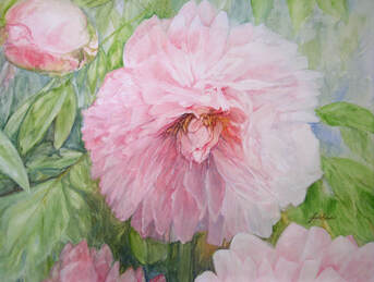 watercolor garden flowers by Laurie Rohner