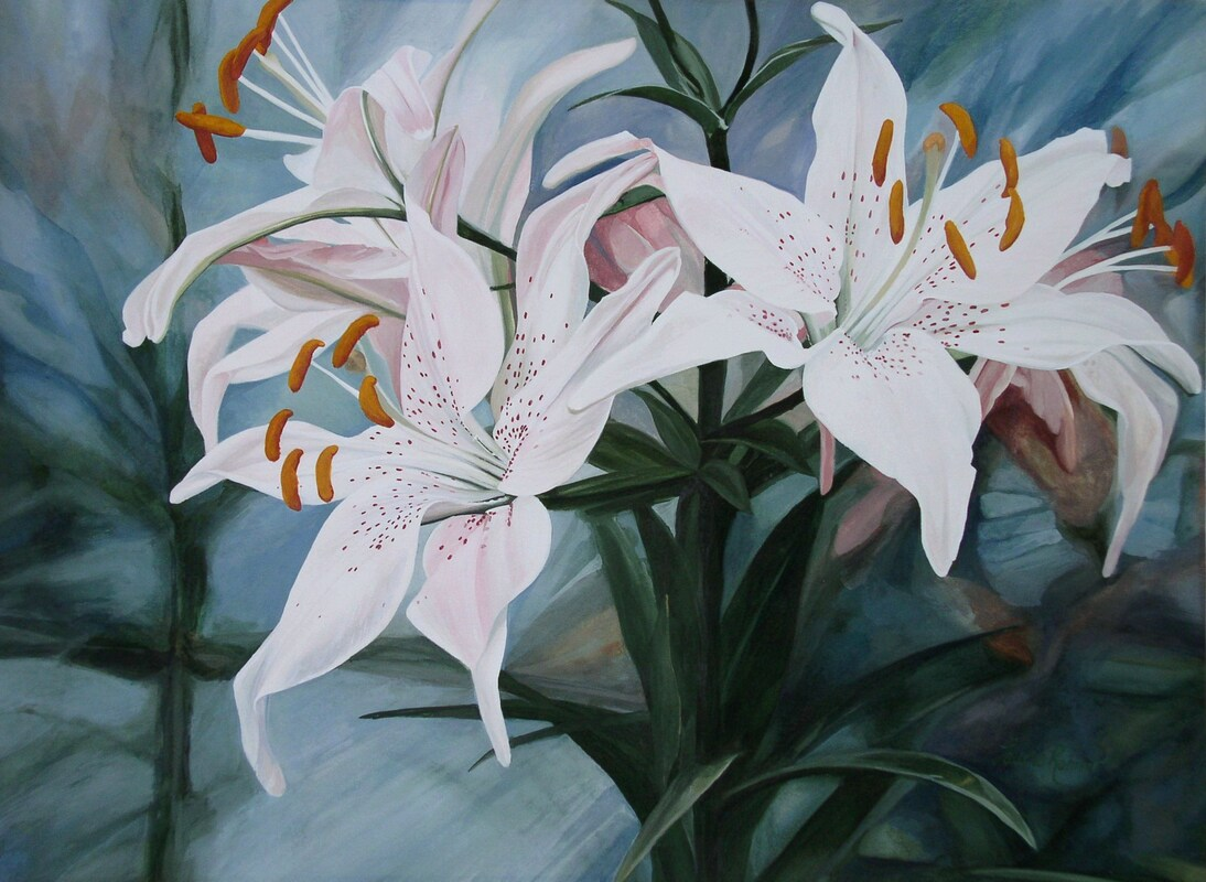 white lilies watercolor painting by Laurie Rohner